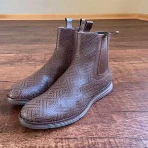 Cole Haan textured print leather 6B ankle hi boots